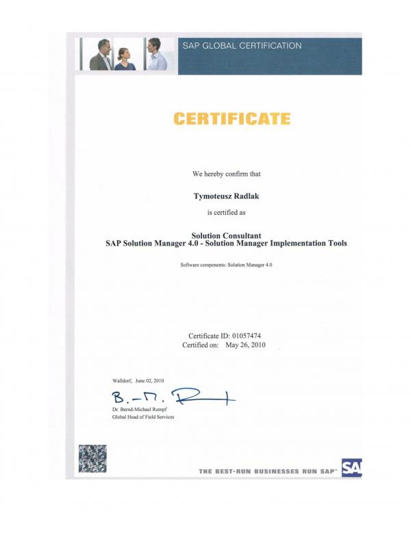 Certified Solution Consultant - SAP Solution Manager 4.0
