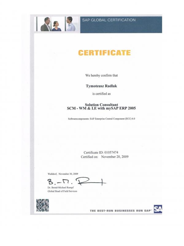Certified Solution Consultant SCM – WM & LE with SAP ERP 2005
