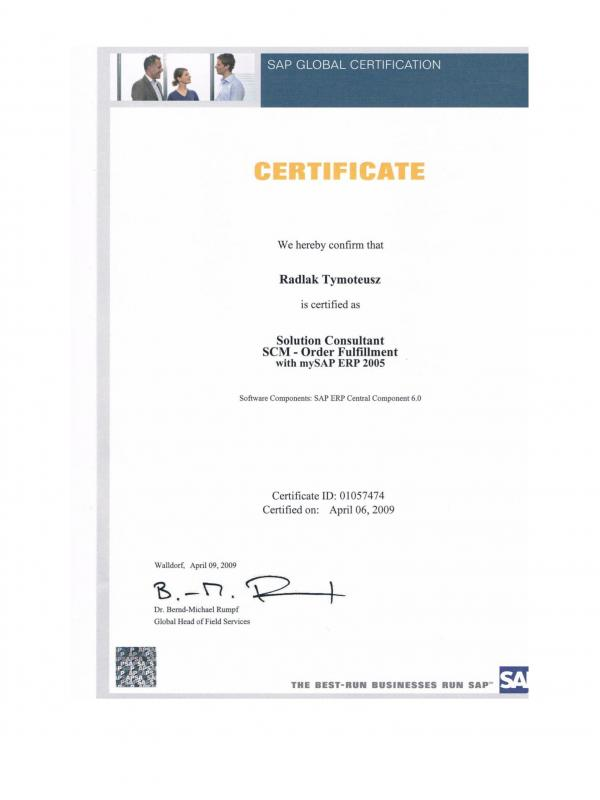 Certified Solution Consultant Supply Chain Management - Order Fulfillment with SAP ERP 2005