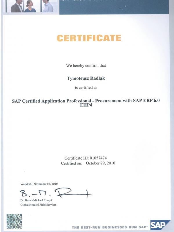 SAP Certified Application Professional - Procurement with SAP ERP 6.0 EHP4