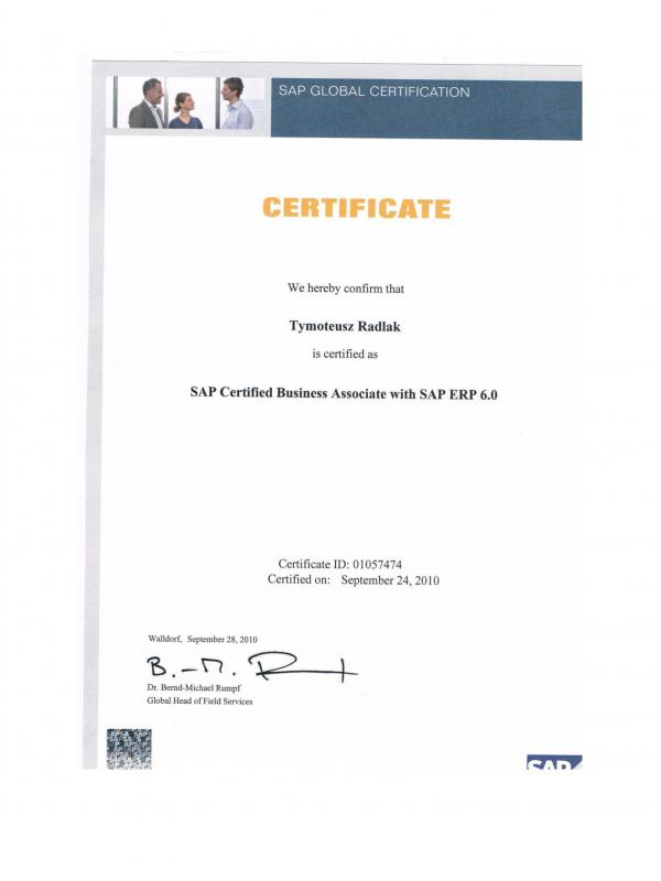SAP Certified Business Associate with ERP